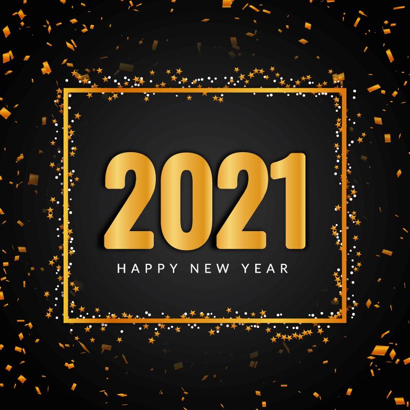 金色纸屑和星星设计2021新年快乐矢量素材(EPS)