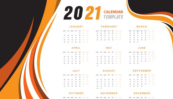 抽象橙色波浪设计2021年日历矢量素材(EPS)