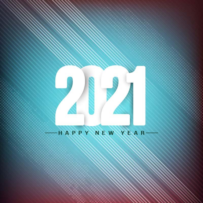 淡蓝色时尚设计2021新年快乐矢量素材(EPS)