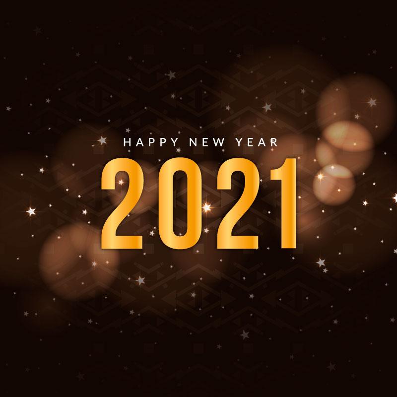 金色数字2021新年快乐散景背景矢量素材(EPS)