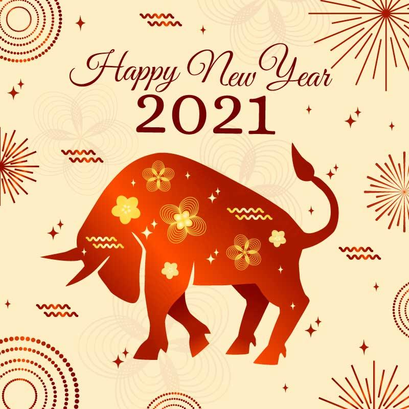 低头的牛设计2021牛年快乐矢量素材(AI/EPS)