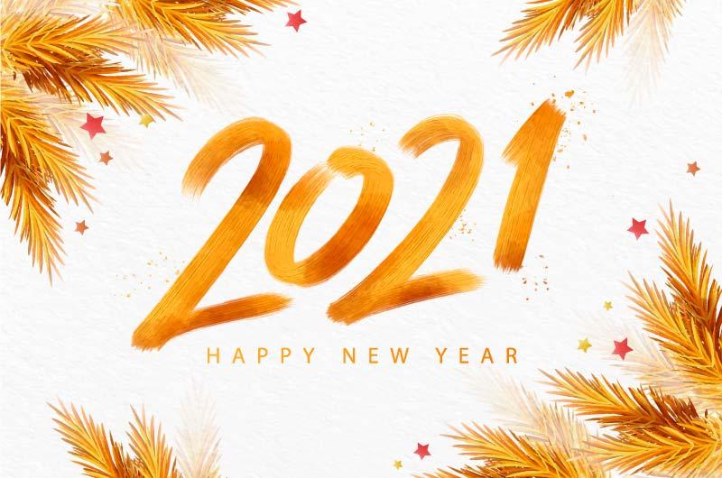 金黄色水彩风格2021新年快乐矢量素材(AI/EPS)