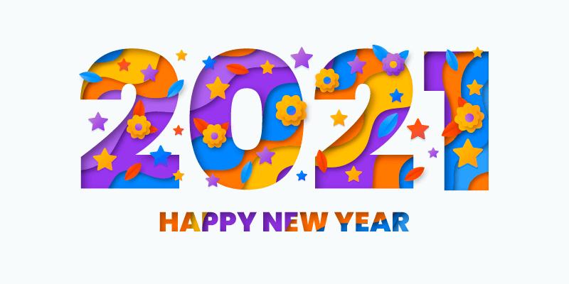 创意数字设计2021新年快乐矢量素材(AI/EPS)