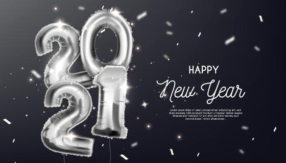 银色数字气球设计2021新年快乐矢量素材(AI/EPS)
