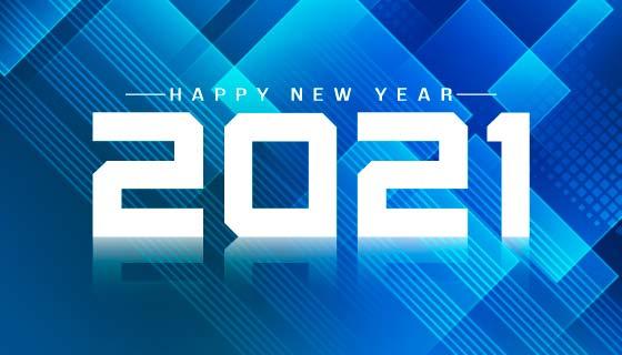 蓝色几何图形设计2021新年快乐矢量素材(EPS)