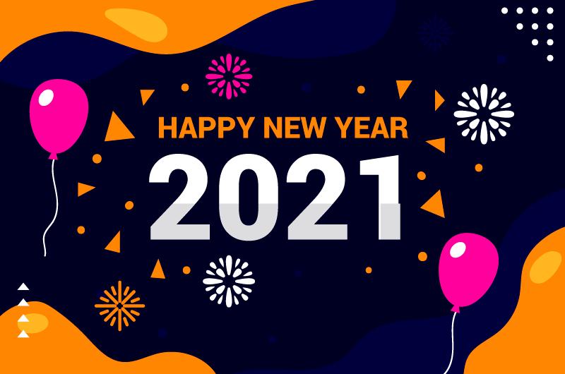 简单图案设计2021新年快乐矢量素材(AI/EPS)