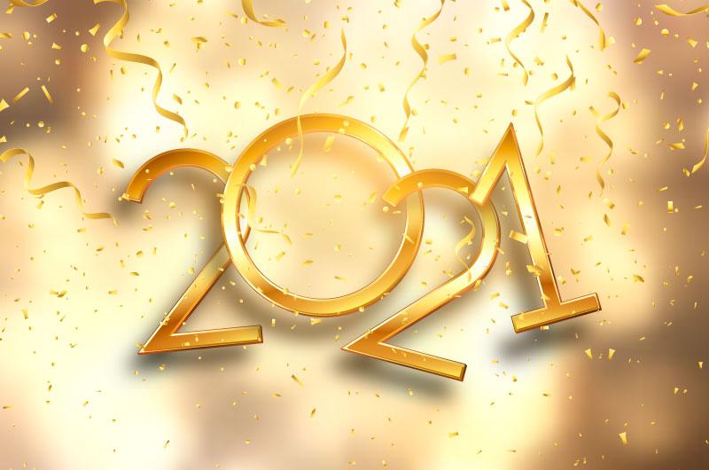 金色奢华的2021新年快乐矢量素材(EPS)