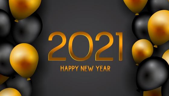 黑色和金色气球设计2021新年快乐矢量素材(EPS)
