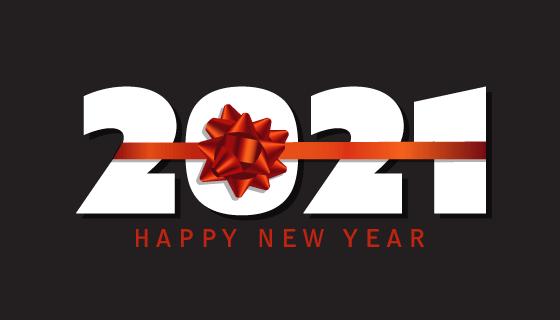 红丝带设计2021新年快乐矢量素材(EPS)