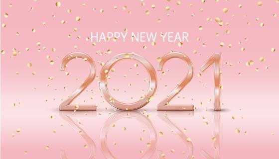 掉落的金色纸屑2021新年快乐背景矢量素材(EPS)