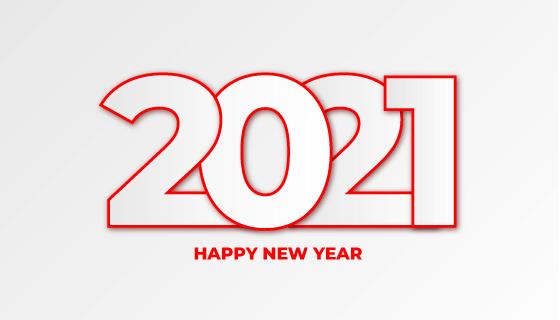 简单数字设计的2021新年快乐矢量素材(EPS)