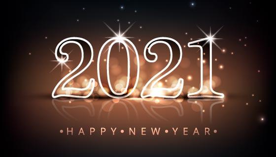 银色闪耀的2021新年快乐散景背景矢量素材(EPS)