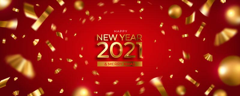金色纸屑2021新年快乐banner矢量素材(EPS)