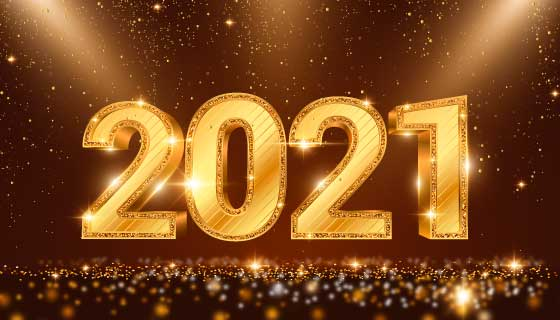 金色璀璨的2021新年快乐背景矢量素材(AI/EPS)