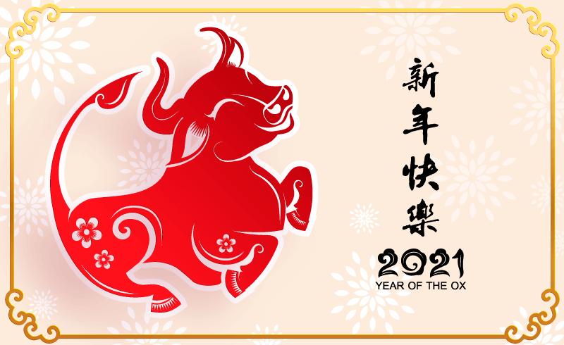 开心的牛设计2021新年快乐矢量素材(EPS)
