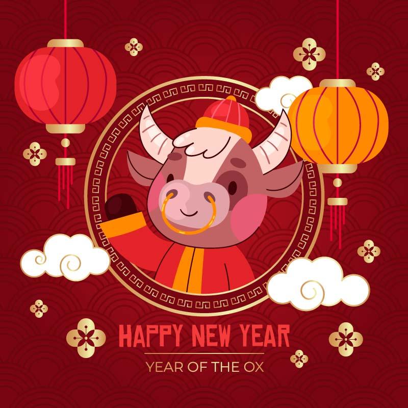 开心的牛设计2021春节快乐矢量素材(AI/EPS)