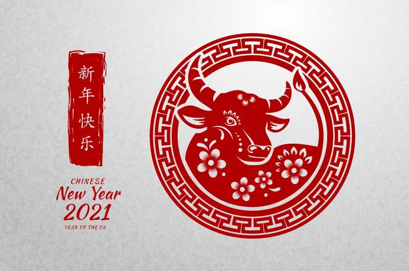 牛头剪纸设计2021春节快乐矢量素材(AI/EPS)