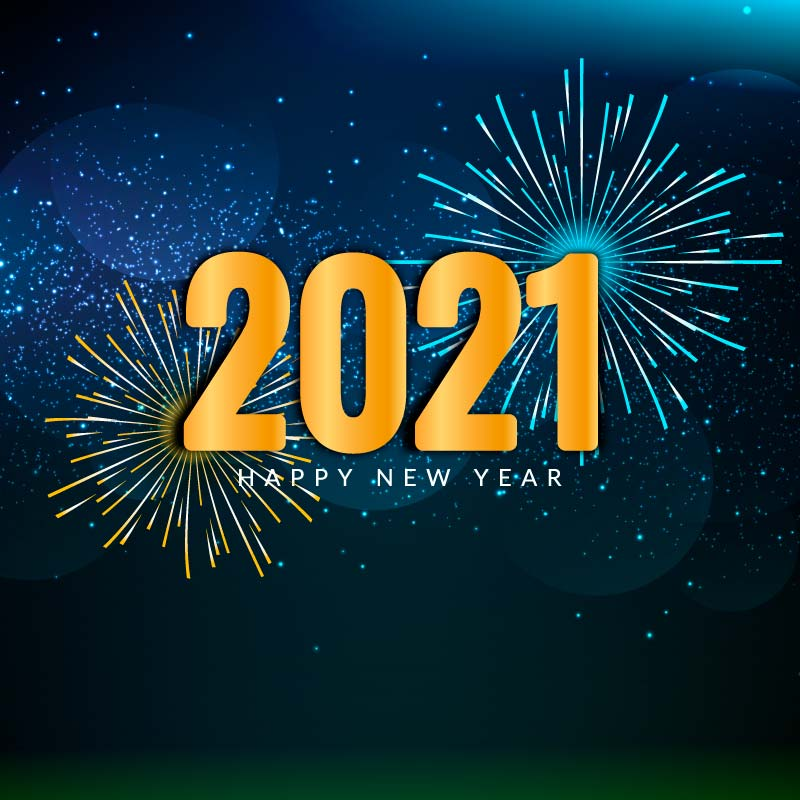 灿烂的烟花设计2021新年快乐矢量素材(EPS)