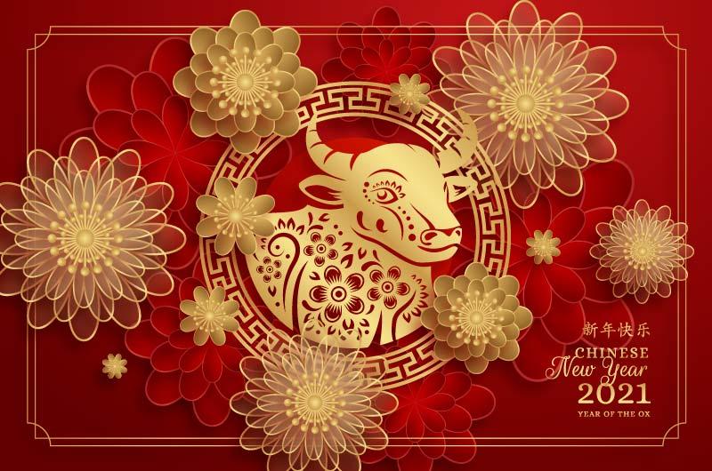 金色牛头和花朵设计2021春节快乐矢量素材(AI/EPS)