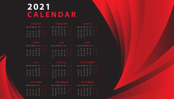 黑红色设计抽象2021年日历矢量素材(EPS)