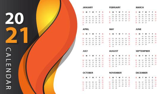 现代风格2021年日历矢量素材(EPS)