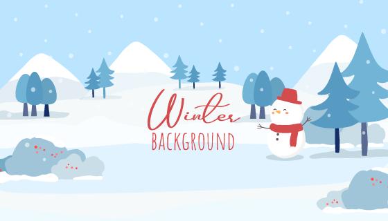 简单的冬季景观矢量素材(EPS)