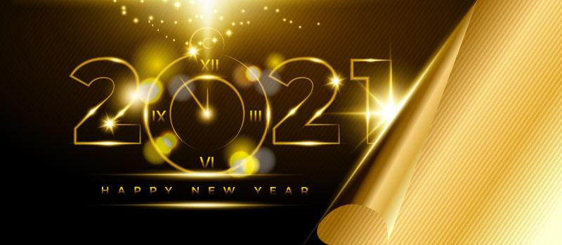 金色璀璨的2021新年快乐矢量素材(EPS)