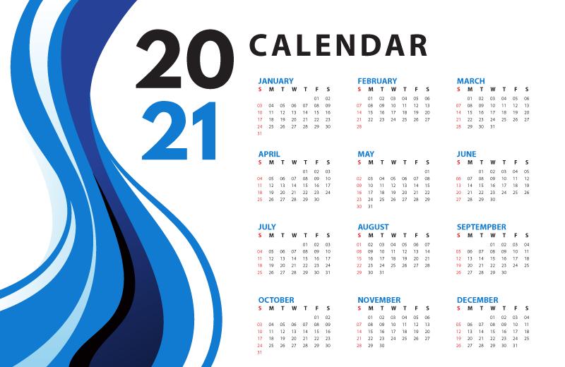 蓝色波浪设计2021年日历矢量素材(EPS)