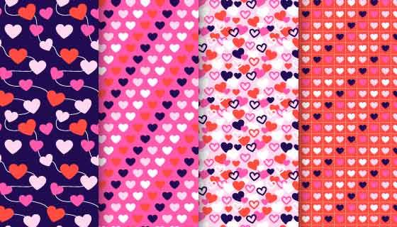 四张爱心图案情人节无缝背景矢量素材(AI/EPS)