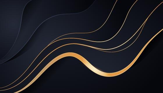 金色波浪线条奢华背景矢量素材(AI/EPS)