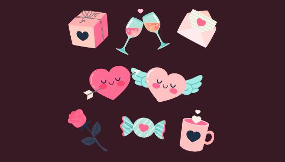 七个可爱的情人节元素矢量素材(AI/EPS/PNG)