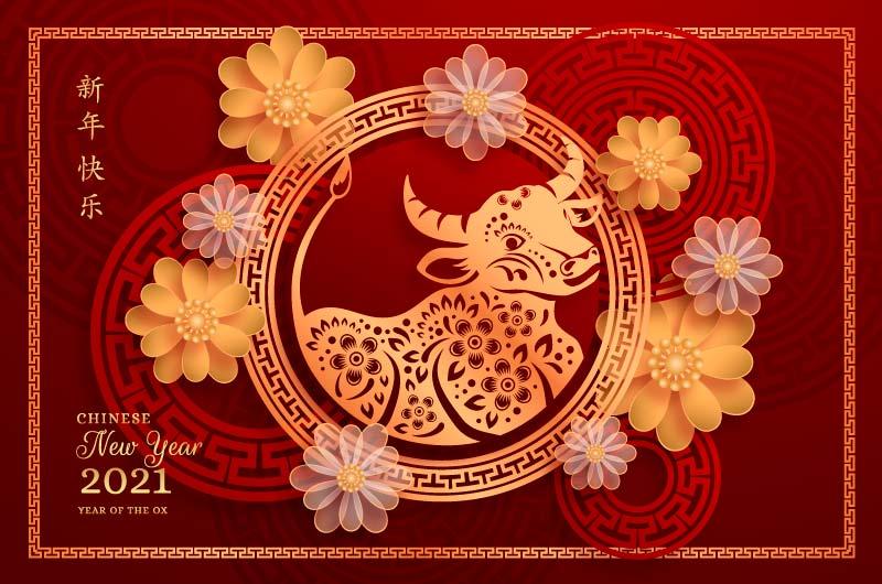 金牛和花朵设计2021春节快乐矢量素材(AI/EPS)