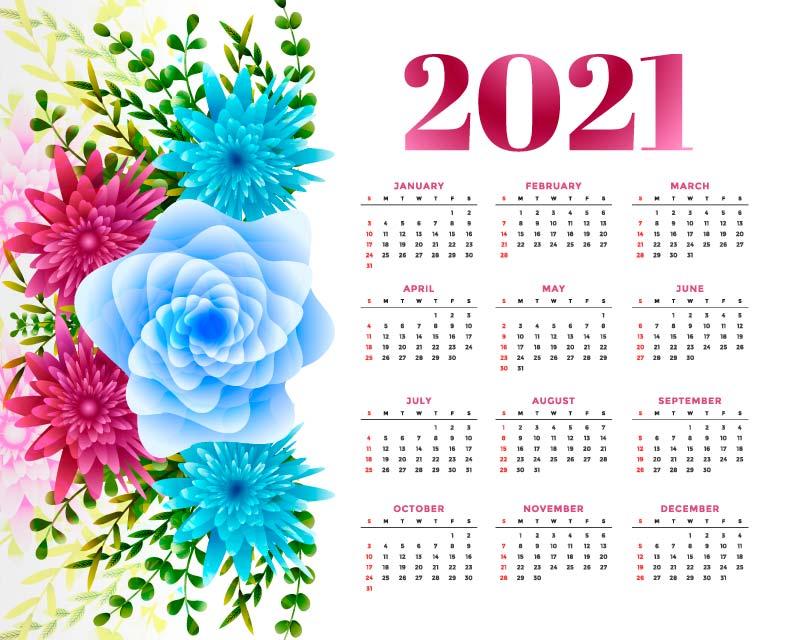 多彩花卉设计2021年日历矢量素材(EPS)