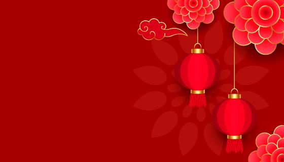灯笼和花朵设计春节快乐背景矢量素材(EPS)
