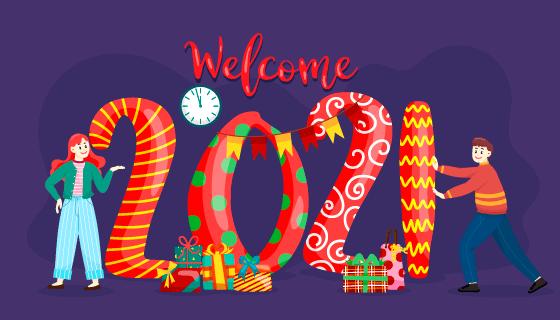 正在装扮2021新年的人们矢量素材(EPS)