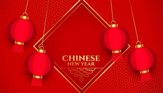 火红灯笼喜庆的春节快乐矢量素材(EPS)
