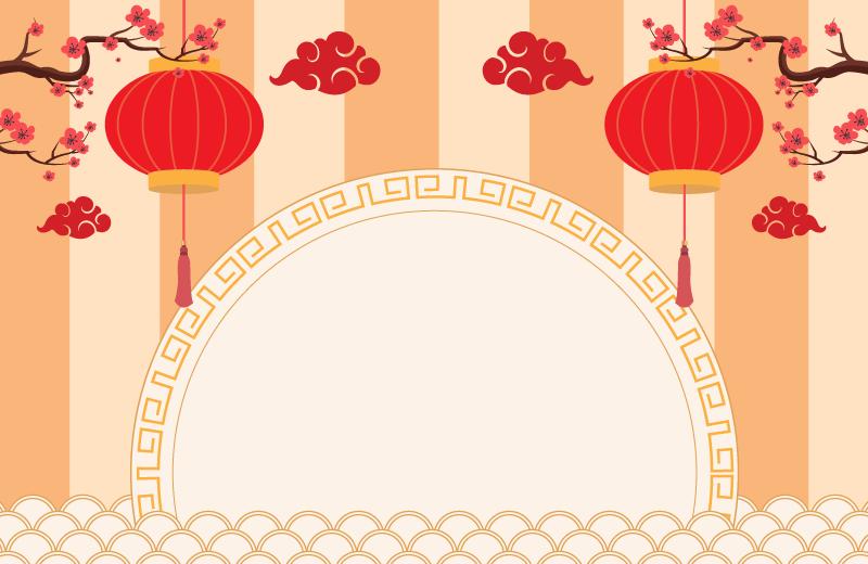 灯笼梅花设计春节快乐背景矢量素材(EPS)