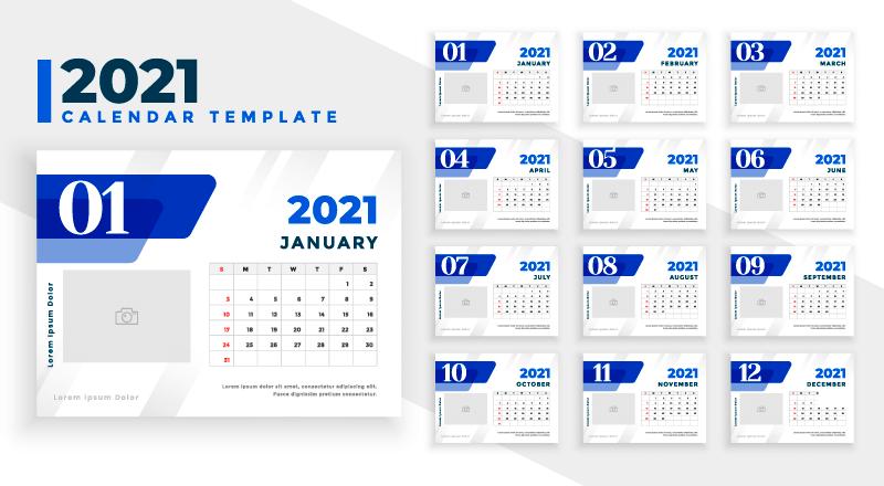 优雅蓝色的2021年日历矢量素材(EPS)