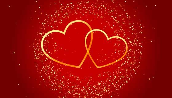 金色爱心设计情人节背景矢量素材(EPS)