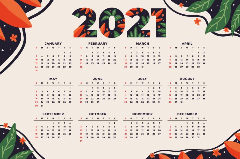 漂亮花卉设计2021年日历矢量素材(AI/EPS)