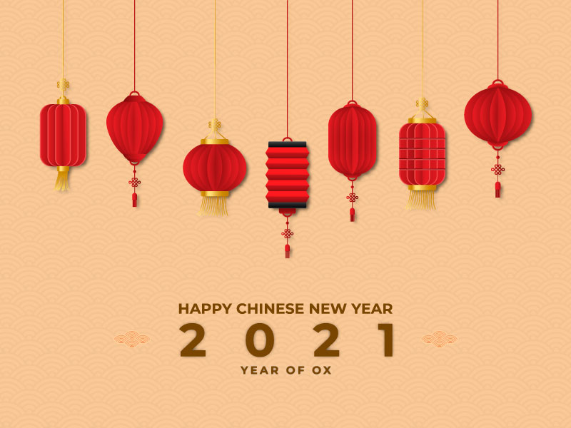 各种各样的灯笼设计2021牛年春节快乐矢量素材(EPS)