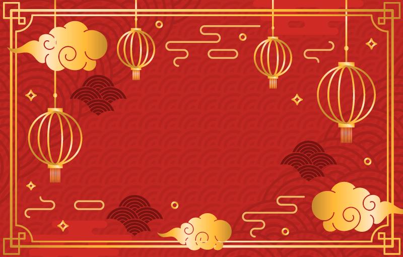 金色红色喜庆的春节快乐背景矢量素材(EPS)