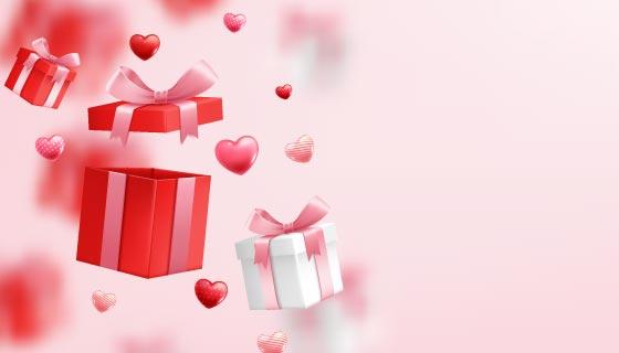 漂亮礼盒设计情人节快乐背景矢量素材(EPS)