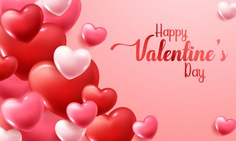 立体粉色红色爱心设计情人节快乐矢量素材(EPS)
