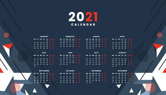 抽象几何设计2021年日历矢量素材(EPS)