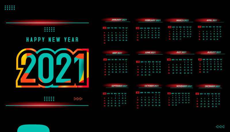 多彩点缀的深色2021年日历矢量素材(EPS)