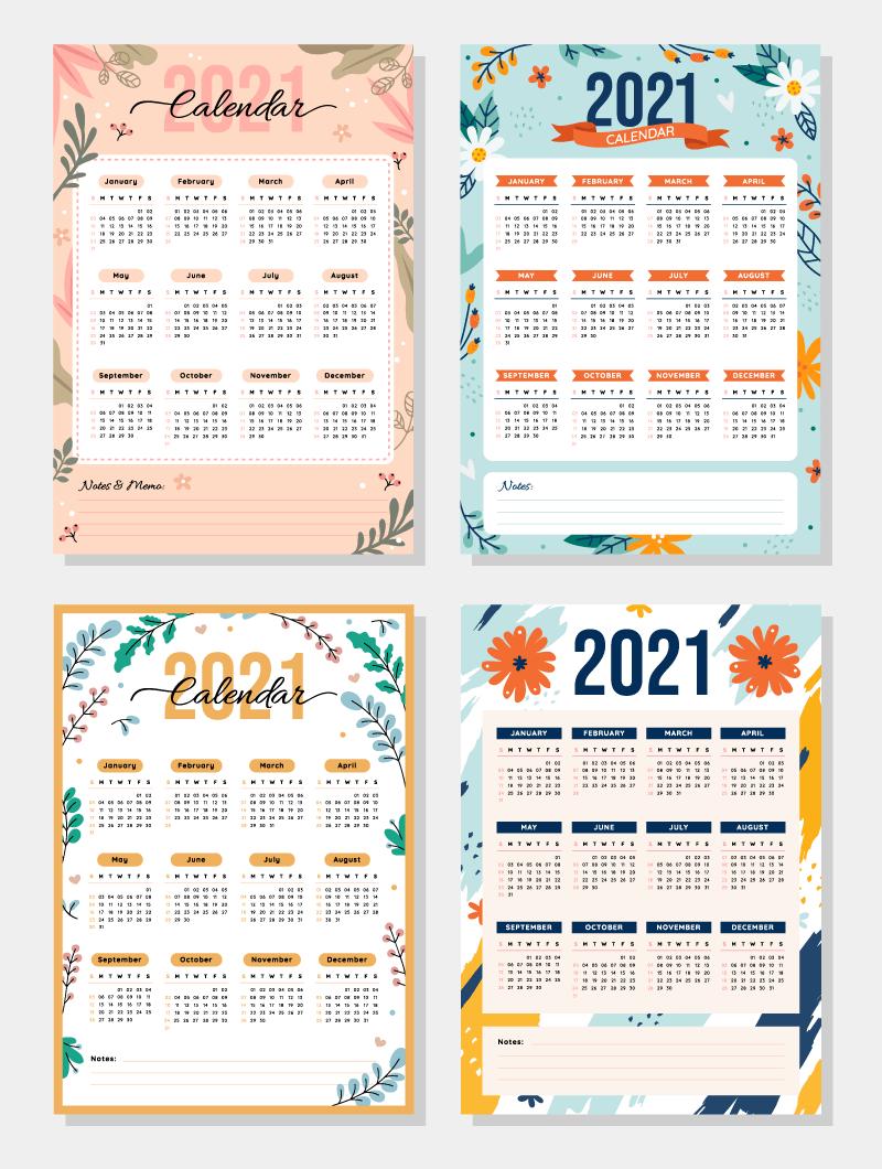 四款花卉设计2021年日历矢量素材(EPS)