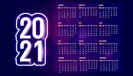 蓝色科幻设计2021年日历矢量素材(EPS)
