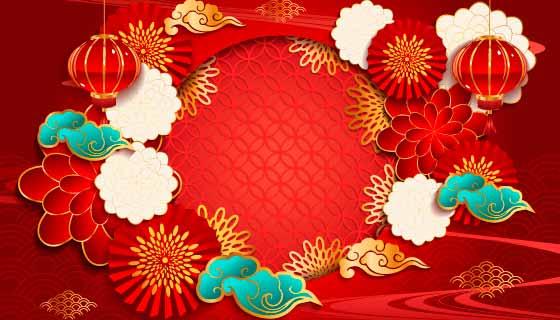 灯笼和花朵设计新年快乐背景矢量素材(EPS)