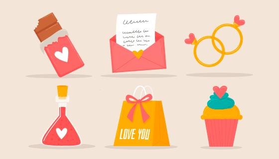 六个可爱的情人节元素矢量素材(AI/EPS/PNG)